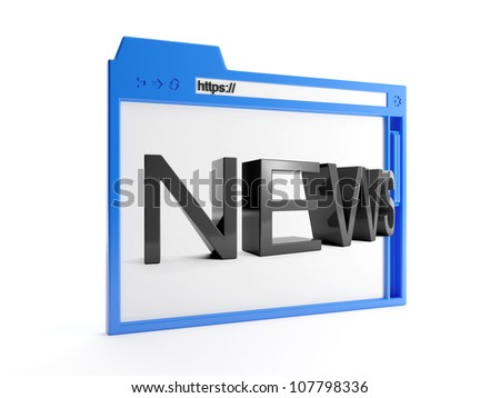 3d illustration: major browser window, and news. Internet technology. - stock photo