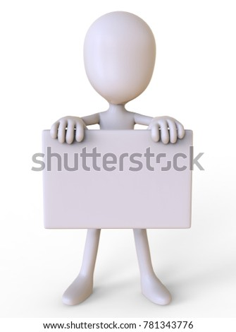 3D illustration man with a sign isolated on white background