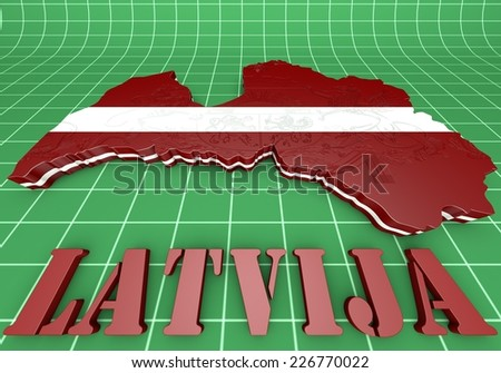 3D Illustration  Map of Latvia  and latvian Flag