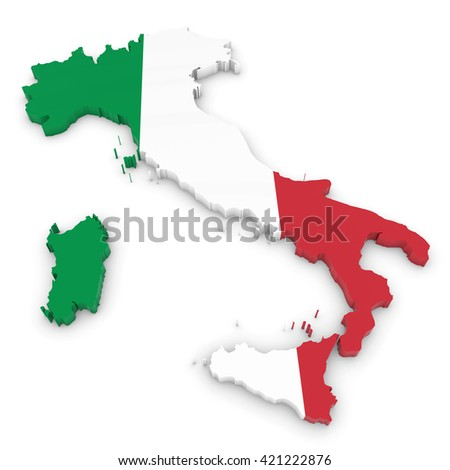 3D Illustration Map Outline of Italy with the Italian Flag