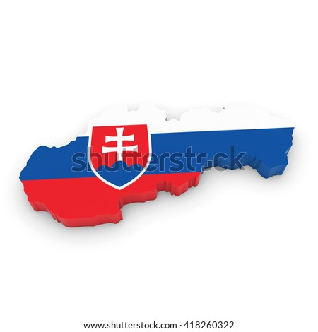3D Illustration Map Outline of Slovakia with the Slovakian Flag
