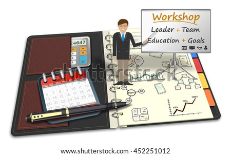 3D Illustration, Mentor workshop training, strategy, trading, teamwork. Meeting, seminar, presentation, lecture practical concept - stock photo