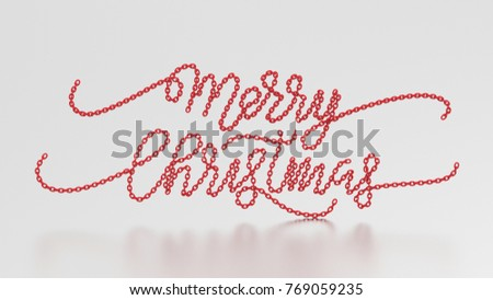 3d illustration merry christmas words from the red chain on a gray background