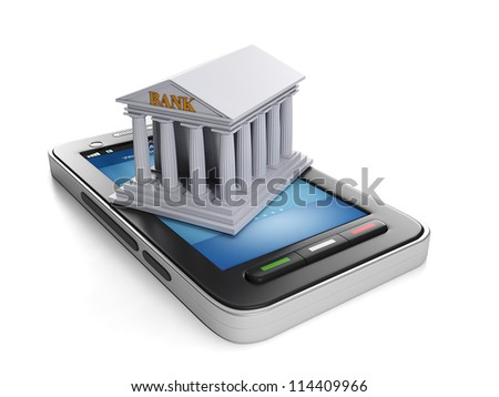 3d illustration: Mobile technology. Mobile banking, mobile phone and bank building - stock photo