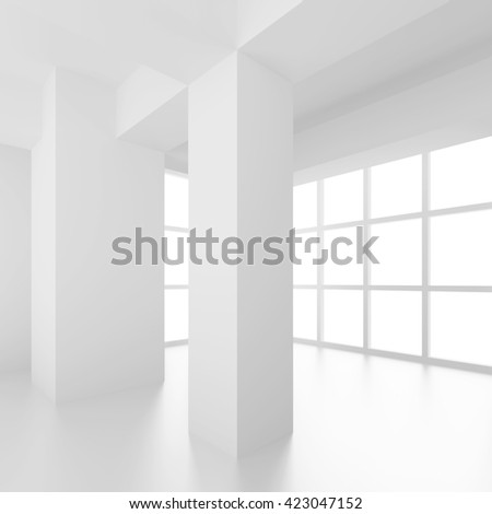 3d Illustration od White Interior Design. Empty Room with Window and Columns. Abstract Architecture Background - stock photo