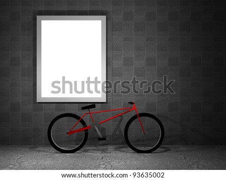 3d illustration of a advertising panel at night with bicycle - stock photo