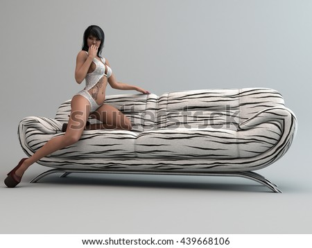 3d illustration of a beautiful asian young woman wering lingerie posing on sofa - stock photo