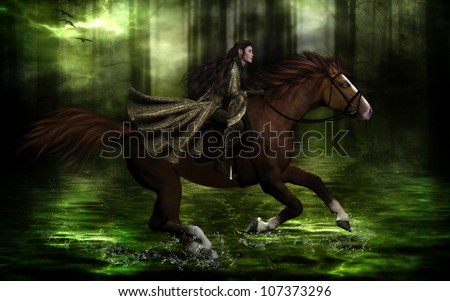 3D illustration of a beautiful elven character wearing a metallic green riding outfit on a chestnut horse through an enchanted forest's waters.