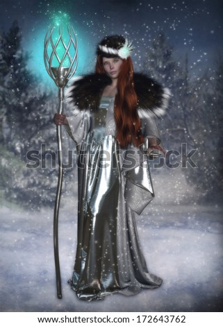 3D illustration of a beautiful Winter Witch holding a silver staff with magical blue sparks.  The background is a winter scene with pine tree's and tiny snow flakes.