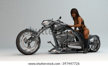 3D illustration of a biker girl wearing leather outfit - stock photo