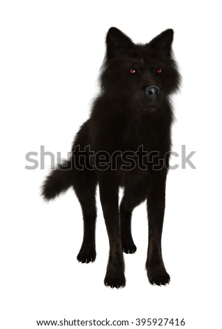 3D Illustration of a black wolf isolated on white background