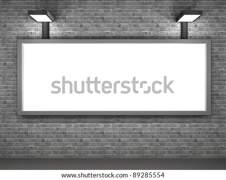 3d illustration of a blank advertising panel at night
