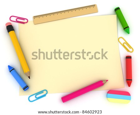3D Illustration of a Blank Note for Background - stock photo