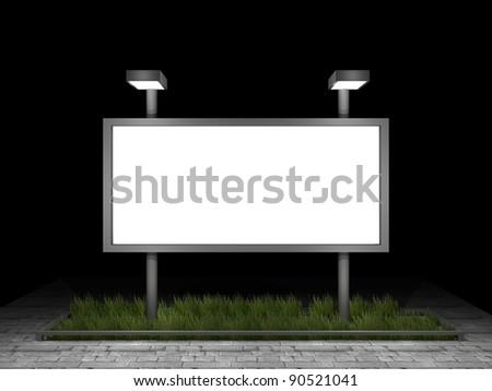 3d illustration of a blank street advertising panel - stock photo