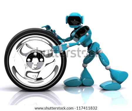 3d illustration of a blue robot and wheel on white background