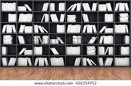 3d illustration of a bookcase with a books of white colour