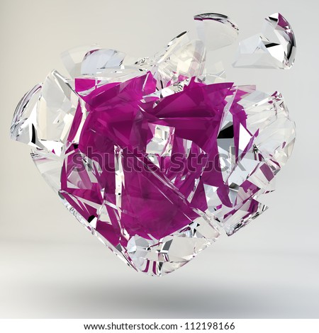 3D Illustration of a Broken Pink Heart covered with glass, isolated on white background. - stock photo