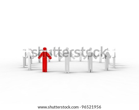 3d illustration of a chain of men in a round on white background