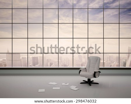 3d illustration of a chair in an empty office - stock photo