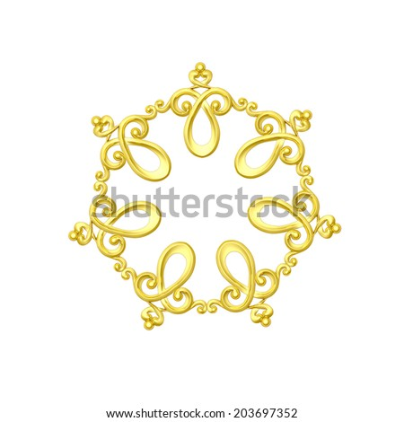 3d illustration of a circular frame from decorative elements