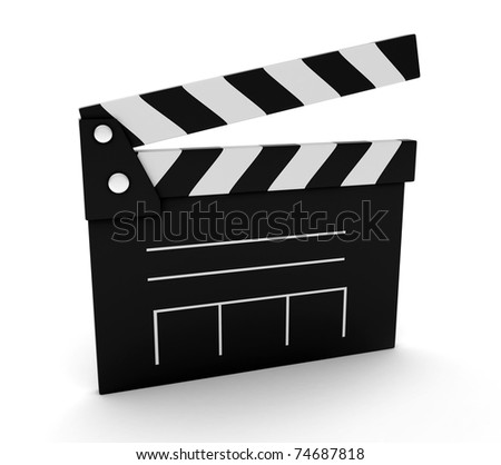 3D Illustration of a Clapperboard - stock photo