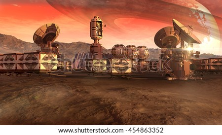 3D Illustration of a colony on a Mars-like red planet, with crate pods, satellite dishes and a moon on a dusty sky, for planetary and space exploration backgrounds. - stock photo