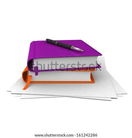 3D illustration of a color book with a pen and a blank sheet on a white background