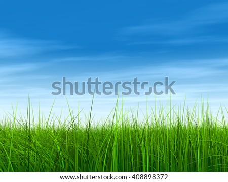 3D illustration of a conceptual green, fresh and natural grass field or lawn, blue sky background in spring or summer - stock photo