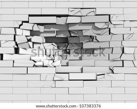 3d illustration of a crumbling brick wall with debris and chunks of masonry cascading downwards from a large hole - stock photo