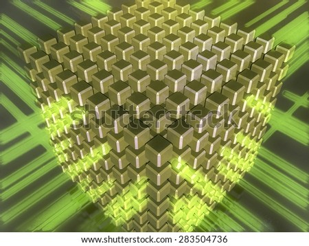 3D illustration of a cube composed with smaller cubes, surrounded with green rays or flows, referring to concepts such as databases, telecommunication, hi-tech, interaction, as well as internet trafic