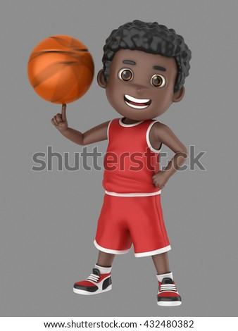 3d illustration of a cute african american kid spinning a basketball in uniform - stock photo