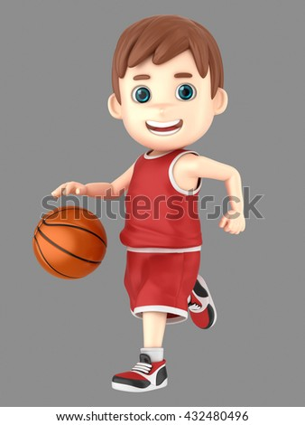 3d illustration of a cute kid dribbling a basketball in uniform - stock photo