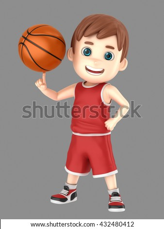 3d illustration of a cute kid spinning a basketball in uniform