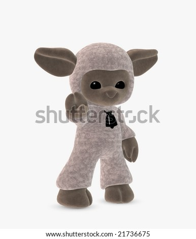 3d illustration of a cute toon sheep reaching out - stock photo