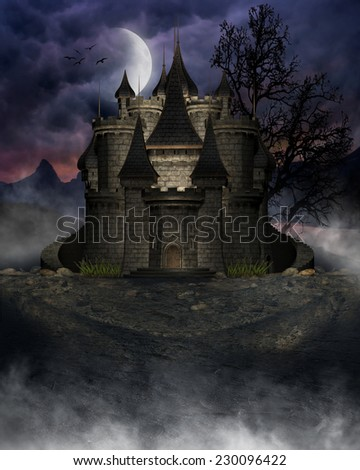 3D illustration of a dark castle with cloudy sky and moon in the background.