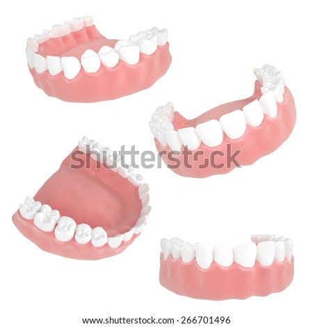 3d illustration of a detailed set of human mouth with teeth and gums on a white background - stock photo