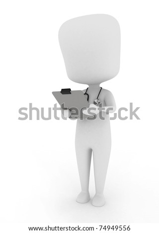 3D Illustration of a Doctor/Nurse Examining a Medical Chart - stock photo
