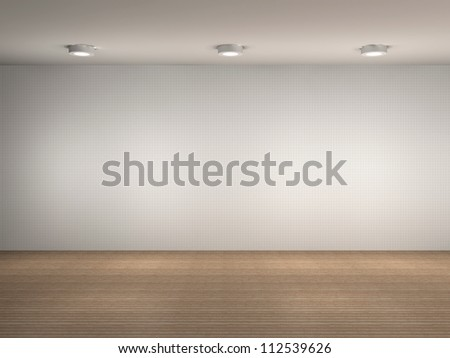 3d illustration of a empty gallery wall - stock photo