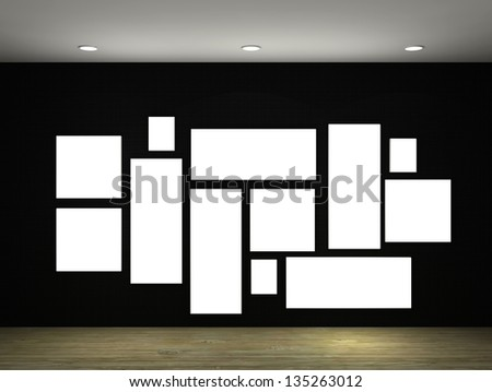 3d illustration of a empty gallery with frames
