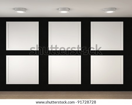 3d illustration of a empty museum with 6 frames