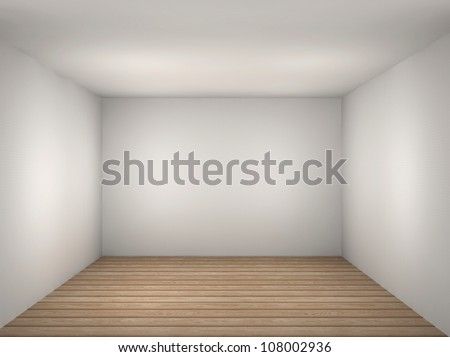 3d illustration of a empty white room - stock photo