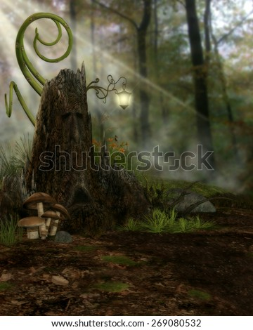 3d illustration of a fairy or elven  background.  Featuring a large tree stump with face, flowers, mushrooms, green tendrils, sun beams and forest. Ready for your photo-manipulations or 3D renders.
