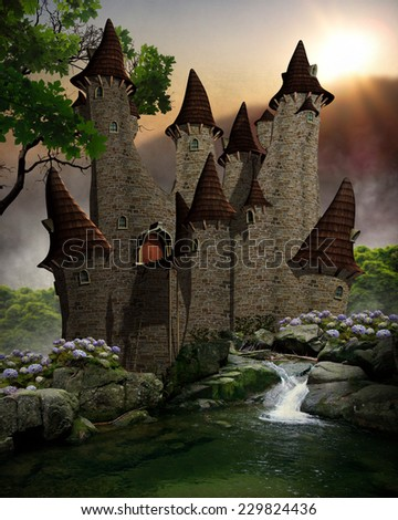 3D illustration of a fairytale castle with moat and waterfall,  surrounded by forest and mountains in the background with light beams peeking through.
