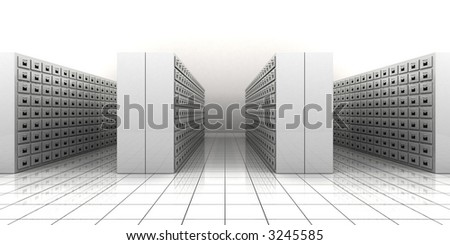 3d illustration of a file room - stock photo