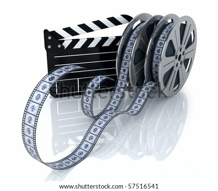 3d illustration of a film reels and film state on a white background