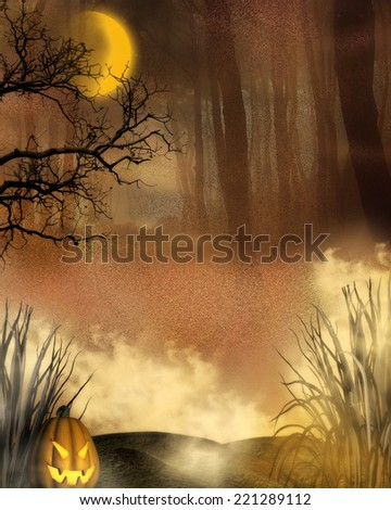 3d illustration of a forest background.  Bright orange moon with dark woods in the background and a small pumpkin and mist.