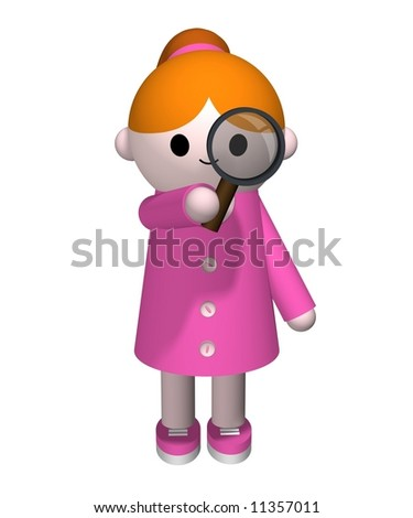 3D illustration of a girl holding a magnifying glass - stock photo