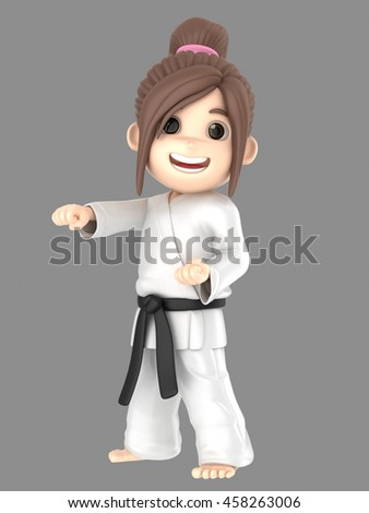 3d illustration of a girl in kimono doing karate
