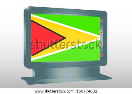 3D Illustration of a Glass Holder isolated with the flag of Guyana - stock photo