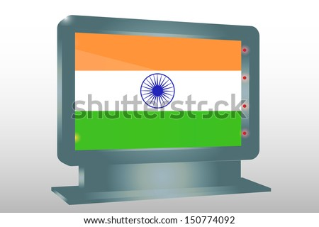 3D Illustration of a Glass Holder isolated with the flag of India - stock photo